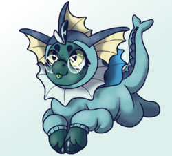 Size: 1500x1353   Tagged: safe, artist:miink3, bat pony, fish, pony, vaporeon, clothes, commission, commissions open, cosplay, costume, game, glasses, kigurumi, nintendo, pokémon, video game, ych result