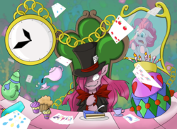 Size: 900x658 | Tagged: alice in wonderland, artist:papyjr13, cake, duality, earth pony, food, mad hatter, madness, party of one, pinkamena diane pie, pinkie pie, pony, safe