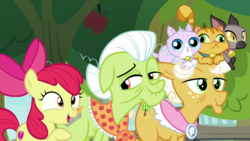 Size: 1920x1080 | Tagged: safe, screencap, apple bloom, applejack, goldie delicious, cat, earth pony, pony, going to seed, amused, apple, apple tree, bow, elderly, female, filly, floppy ears, foal, freckles, grandmother and grandchild, grandmother and granddaughter, granny smith's scarf, hair bow, hair bun, open mouth, pet, pointing, raised eyebrow, raised hoof, talking, tree, trio focus, wrinkles