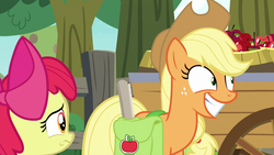 Size: 1280x720 | Tagged: apple, apple bloom, applejack, apple tree, cart, fence, going to seed, pony, saddle bag, safe, screencap, spoiler:s09e10, tree