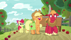 Size: 1280x720 | Tagged: apple, apple bloom, applejack, apple tree, big macintosh, cart, fence, food, going to seed, saddle bag, safe, spoiler:s09e10, tree