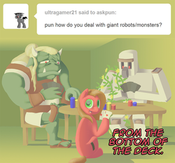 Size: 1120x1044 | Tagged: artist:crispokefan, ask, ask pun, card, card game, earth pony, female, iron golem, mare, minecraft, oc, oc only, oc:pun, orc, pony, pun, safe, solo
