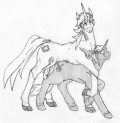 Size: 1981x2027 | Tagged: safe, artist:siegfriednox, oc, oc only, oc:cold casting, oc:eclipse starwind, pony, unicorn, behaving like a cat, female, grayscale, monochrome, size difference, surprised, traditional art