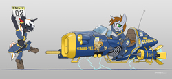Size: 2294x1065 | Tagged: safe, artist:satv12, oc, oc only, oc:littlepip, oc:velvet remedy, earth pony, pony, unicorn, semi-anthro, fallout equestria, alternate universe, belly button, bipedal, blushing, boots, clothes, cute, eyes closed, fanfic, fanfic art, female, gray background, grin, hooves, horn, hoverbike, mare, midriff, panties, shoes, simple background, skirt, skirt lift, smiling, socks, thigh highs, underwear, upskirt, vault suit, white underwear