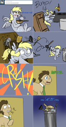 Size: 1562x3006 | Tagged: safe, artist:jitterbugjive, derpy hooves, doctor whooves, time turner, pony, lovestruck derpy, ask, blushing, dalek, doctor who, funny, funny as hell, hoof hold, i just don't know what went wrong, key, mop, pan, plunger, trash can, tumblr
