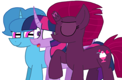 Size: 1650x1080 | Tagged: safe, artist:徐詩珮, fizzlepop berrytwist, spring rain, tempest shadow, twilight sparkle, alicorn, pony, unicorn, bisexual, broken horn, female, horn, kissing, lesbian, mare, polyamory, shipping, simple background, springlight, springshadow, springshadowlight, tempestlight, transparent background, twilight sparkle (alicorn), twilight sparkle gets all the mares