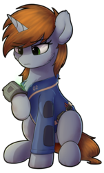 Size: 784x1302 | Tagged: artist:av-4, artist:avastin4, chest fluff, clothes, fallout equestria, fanfic, fanfic art, female, hooves, horn, looking at something, mare, oc, oc:littlepip, oc only, pipbuck, pony, safe, simple background, sitting, solo, transparent background, unicorn, vault suit