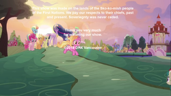 Size: 1366x768 | Tagged: safe, edit, edited screencap, screencap, applejack, fluttershy, pinkie pie, rainbow dash, rarity, spike, twilight sparkle, alicorn, earth pony, kirin, pegasus, pony, unicorn, the last problem, spoiler:s09e26, canada, female, gigachad spike, lens flare, mane seven, mane six, mare, native american, older, older applejack, older fluttershy, older mane 6, older mane 7, older pinkie pie, older rainbow dash, older rarity, older spike, older twilight, ponyville, quadrupedal, sunset, text, twilight sparkle (alicorn), untitled goose game, vancouver