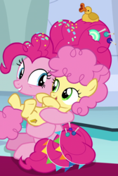 Size: 552x820 | Tagged: all is well, candy, colt, cropped, cute, cutie mark, dangerously cute, earth pony, female, foal, food, happy go lucky, holding, like mother like son, li'l cheese, looking at each other, male, mother, mother and son, older, older pinkie pie, open mouth, pinkie pie, pony, rubber duck, safe, screencap, sitting, smiling, spoiler:s09e26, sprinkles, the last problem, time skip, too cute