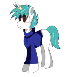 Size: 5000x5500   Tagged: safe, artist:inky scroll, oc, oc:snowy blue, pony, unicorn, blank flank, clothes, eye clipping through hair, hoodie, horn, horn ring, male, ring, simple background, stallion, transparent background