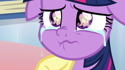 Size: 1920x1080 | Tagged: alicorn, comforting, context is for the weak, crying, cute, eye reflection, fluttershy, pony, reflection, sad, safe, scared, screencap, spoiler:s09e24, spoiler:s09e25, tears of pain, teary eyes, the ending of the end, twilight sparkle, twilight sparkle (alicorn), underhoof
