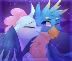Size: 951x800 | Tagged: safe, artist:waterz-colrxz, gallus, ocellus, changedling, changeling, griffon, digital art, eyes closed, female, kiss on the cheek, kissing, luslus, male, shipping, straight