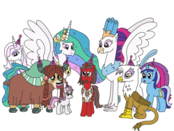 Size: 3264x2448 | Tagged: alicorn, artist:supahdonarudo, classical hippogriff, fleur-de-lis, gilda, griffon, happy birthday mlp:fim, hat, hippogriff, minuette, mlp fim's ninth anniversary, my little pony: the movie, oc, oc:ironyoshi, party hat, princess celestia, queen novo, safe, simple background, sweetie belle, transparent background, unicorn, yak, yona
