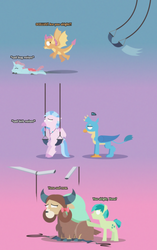 Size: 2998x4788 | Tagged: safe, artist:gd_inuk, gallus, ocellus, sandbar, silverstream, smolder, yona, changedling, changeling, classical hippogriff, dragon, earth pony, griffon, hippogriff, pony, yak, blank eyes, bow, broken, concerned, consoling, denial, dialogue, dragoness, empty eyes, female, flying, frown, gallus is not amused, gradient background, hair bow, horns, inktober, inktober 2019, jewelry, lineless, male, monkey swings, necklace, no, no mouth, no pupils, quadrupedal, sad, sitting, student six, stylized, swing, swing set, unamused