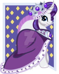 Size: 800x1000 | Tagged: safe, artist:koharuveddette, princess platinum, rarity, pony, unicorn, hearth's warming eve (episode), clothes, crown, jewelry, regalia, robe, smiling, solo