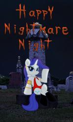Size: 1816x3043   Tagged: safe, artist:ejlightning007arts, rarity, unicorn, boots, clothes, costume, crossover, graveyard, halloween, halloween costume, holiday, night, nightmare night, sexy, shoes, vampirella