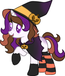 Size: 1350x1580   Tagged: safe, artist:elizadoesadopts, oc, oc only, oc:mystic brew, pony, unicorn, blank flank, cloak, clothes, female, freckles, gloves, hat, mare, multicolored hair, open mouth, pumpkin, raised hoof, robe, simple background, socks, solo, striped socks, transparent background, witch, witch costume, witch hat