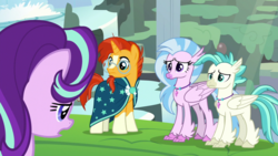 Size: 1920x1080 | Tagged: safe, screencap, silverstream, starlight glimmer, sunburst, terramar, classical hippogriff, hippogriff, pony, unicorn, student counsel, beak, cape, clothes, colored pupils, female, folded wings, hooves, horn, jewelry, male, mare, necklace, stallion, wings