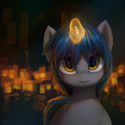 Size: 1080x1080 | Tagged: safe, artist:quvr, oc, oc only, oc:homage, pony, unicorn, fallout equestria, female, glowing horn, horn, lantern, looking at you, magic, mare, reflection, solo