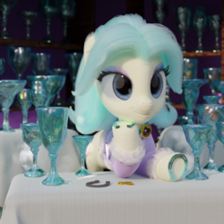 Size: 1920x1920 | Tagged: safe, artist:gabe2252, amethyst gleam, ammie thyst, earth pony, pony, 3d, bits, blender, crystal chalice, crystal chalice stand pony, cycles, female, horseshoes, jewelry, mare, rusty horseshoe, solo