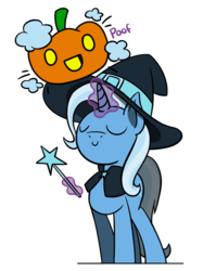Size: 1280x1707 | Tagged: safe, artist:flutterluv, trixie, pony, unicorn, eyes closed, female, halloween, hat, holiday, magic, magic wand, mare, poof, pumpkin, simple background, solo, telekinesis, transparent background, wand, witch, witch hat