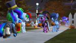 Size: 3840x2160 | Tagged: safe, artist:melodiousmarci, oc, oc:allen, oc:aurora azure, oc:mythic speed, oc:pixel codec, oc:qular, oc:rainy visualz, oc:silvaspark, oc:star beats, bat pony, pegasus, pony, seal, unicorn, ballerina, clothes, costume, dress, emo, gala dress, halloween, hat, hat kid, hiding in plain sight, holiday, hoodie, jack-o-lantern, nightmare night, potato, pumpkin, sfm pony, soldier, spacesuit, staryvisi, sunglasses, trick or treat, walking, witch hat