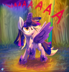 Size: 1440x1500 | Tagged: safe, artist:reapers969, derpy hooves, pegasus, pony, scare master, aaaaaaaaaa, alicorn costume, clothes, corn maze, costume, cute, derpabetes, fake horn, fake wings, female, mare, nightmare night costume, scene interpretation, signature, solo, toilet paper roll horn, twilight muffins, twilight sparkle costume, wig