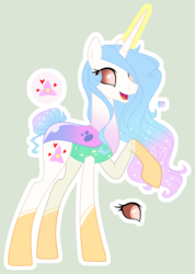 Size: 1225x1723 | Tagged: safe, artist:starling-sentry-yt, oc, changepony, hybrid, base used, female, interspecies offspring, magic, offspring, parent:princess celestia, parent:thorax, parents:thoralestia, simple background, solo, white outline