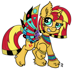 Size: 1907x1806   Tagged: safe, artist:dawn-designs-art, sunset shimmer, pony, unicorn, alternate hairstyle, clothes, cosplay, costume, cute, ear fluff, egypt, egyptian, egyptian pony, female, fluffy, halloween, halloween costume, holiday, leg fluff, mare, nightmare night, simple background, solo, sunset, transparent background