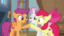 Size: 1920x1080   Tagged: safe, screencap, apple bloom, scootaloo, sweetie belle, pony, the last crusade, cutie mark crusaders, hoofbump