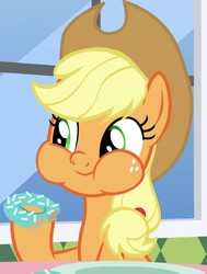 Size: 700x927   Tagged: safe, screencap, applejack, earth pony, pony, the ending of the end, applejack's hat, cowboy hat, cropped, cute, donut, eating, female, food, freckles, green eyes, hoof hold, jackabetes, looking at someone, mare, ponytail, puffy cheeks, solo, stetson