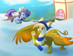 Size: 1000x780 | Tagged: safe, artist:brownie97, oc, oc:ember burd, bat pony, griffon, bat pony oc, duo, snow, winter