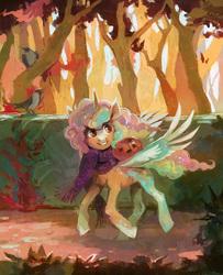 Size: 1996x2463   Tagged: safe, artist:dearmary, oc, oc only, alicorn, bird, pony, alicorn oc, pumpkin, solo, tree