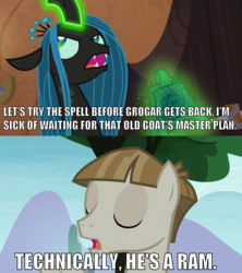 Size: 1160x1304 | Tagged: safe, edit, edited screencap, screencap, mudbriar, queen chrysalis, changeling, changeling queen, pony, the ending of the end, the maud couple, spoiler:s09e24, spoiler:s09e25, bell, caption, correction, female, grogar's bell, image macro, impact font, male, meme, stallion, technically, text