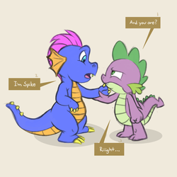 Size: 2500x2500 | Tagged: safe, artist:creativescribbles, master kenbroath gilspotten heathspike, spike, dragon, g3, g4, confrontation, face to face, generational dragondox, holding arm, looking at each other, male, simple background, spike is not amused, unamused, winged spike