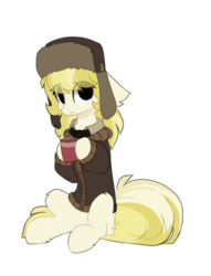 Size: 936x1224 | Tagged: artist:little-sketches, clothes, coat, earth pony, female, hat, march gustysnows, mare, pony, safe, simple background, ushanka, white background