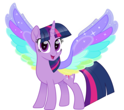 Size: 5000x4440 | Tagged: alicorn, artist:n0kkun, colored wings, female, mare, multicolored wings, pony, rainbow roadtrip, rainbow wings, safe, simple background, solo, spoiler:rainbow roadtrip, transparent background, twilight sparkle, twilight sparkle (alicorn), wing bling, wings