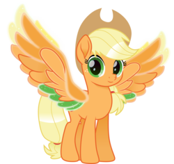 Size: 5000x4727 | Tagged: safe, artist:n0kkun, applejack, earth pony, pegasus, pony, rainbow roadtrip, colored wings, female, flapplejack, mare, multicolored wings, race swap, rainbow wings, simple background, solo, transparent background, wings