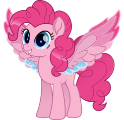 Size: 5000x4854 | Tagged: artist:n0kkun, colored wings, earth pony, female, mare, multicolored wings, pegasus, pegasus pinkie pie, pinkie pie, pony, race swap, rainbow roadtrip, rainbow wings, safe, simple background, solo, spoiler:rainbow roadtrip, transparent background, wing bling, wings