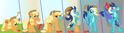 Size: 3981x1072 | Tagged: safe, artist:playfingers, applejack, princess ember, dragon, earth pony, pony, bloodstone scepter, character to character, dragoness, female, gem, hat, mare, question mark, scepter, transformation, transformation sequence