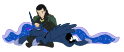 Size: 1024x432 | Tagged: safe, artist:spqr21, princess luna, alicorn, human, pony, clothes, crossover, ethereal mane, eyes closed, female, heart, hoof shoes, loki, male, mare, petting, shipping, simple background, starry mane, transparent background