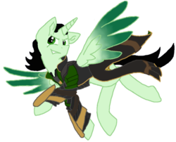 Size: 903x728 | Tagged: safe, alternate version, artist:spqr21, alicorn, pony, fanfic:we remember everything, base used, clothes, crossover, fanfic art, loki, male, ponified, simple background, smiling, smirk, solo, stallion, transparent background