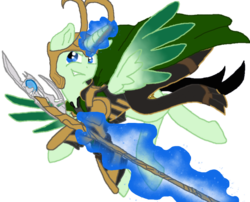 Size: 903x728 | Tagged: safe, alternate version, artist:spqr21, alicorn, pony, fanfic:we remember everything, base used, clothes, crossover, fanfic art, glowing horn, horn, loki, magic, male, ponified, simple background, solo, staff, stallion, telekinesis, transparent background