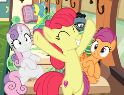 Size: 1229x940 | Tagged: safe, screencap, apple bloom, down under, lemon hearts, scootaloo, sweetie belle, earth pony, pegasus, pony, unicorn, growing up is hard to do, spoiler:s09e22, bipedal, cropped, cutie mark, eyes closed, female, friendship express, happy, hooves in air, mare, older, older apple bloom, older cmc, older scootaloo, older sweetie belle, sitting, smiling, the cmc's cutie marks, trio focus