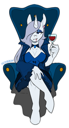 Size: 565x1042 | Tagged: alcohol, anthro, artist:redxbacon, breasts, chair, cleavage, clothes, costume, elegant, fangs, female, gothic, halloween, halloween costume, holiday, mare, monster mare, nightmare night, oc, oc:platinum decree, safe, solo, unguligrade anthro, unicorn, vampire, wine