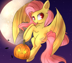 Size: 1769x1536 | Tagged: artist:autumnvoyage, bat ponified, bat pony, cute, flutterbat, fluttershy, flying, full moon, moon, pumpkin bucket, race swap, safe, shyabates, shyabetes