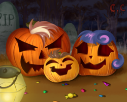 Size: 1366x1100 | Tagged: safe, artist:candyclumsy, oc, oc:king speedy hooves, oc:queen galaxia, oc:tommy the human, candy, commissioner:bigonionbean, cute, family, food, fusion:king speedy hooves, fusion:queen galaxia, halloween, holiday, jack-o-lantern, lamp, mane, nightmare night, pumpkin, tombstones