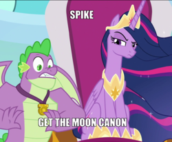 Size: 1303x1078 | Tagged: alicorn, caption, cropped, crown, edit, edited screencap, image macro, jewelry, meme, misspelling, princess twilight 2.0, regalia, safe, screencap, spike, spoiler:s09e26, text, the last problem, to the moon, twilight sparkle, twilight sparkle (alicorn)