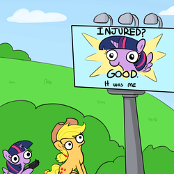 Size: 3000x3000 | Tagged: safe, artist:tjpones, edit, applejack, twilight sparkle, alicorn, pegasus, pony, sparkles! the wonder horse!, behind you, billboard, derp, female, frown, gun, handgun, hoof hold, imminent death, imminent murder, imminent pain, mare, meme, pistol, sitting, smiling, this will end in death, this will end in tears, this will end in tears and/or death, twibitch sparkle, twilight sparkle (alicorn), weapon, wide eyes