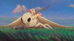 Size: 1920x1080 | Tagged: artist:quvr, female, fluffy, fluttershy, giant insect, giant moth, insect, looking at you, mare, moth, one eye closed, pegasus, pony, safe, size difference, smiling, solo